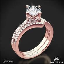 18k Rose Gold Simon G. MR1609 Caviar Diamond Wedding Set | Whiteflash