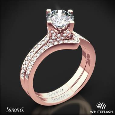 18k Rose Gold Simon G. MR1609 Caviar Diamond Wedding Set