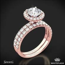 18k Rose Gold Simon G. MR1811 Passion Halo Diamond Wedding Set   Whiteflash