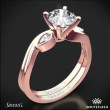 18k Rose Gold Simon G. MR2342 Dutchess Three Stone Wedding Set | Whiteflash