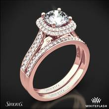 18k Rose Gold Simon G. MR2395 Passion Halo Diamond Wedding Set | Whiteflash