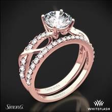 18k Rose Gold Simon G. MR2526 Fabled Crisscross Diamond Wedding Set | Whiteflash