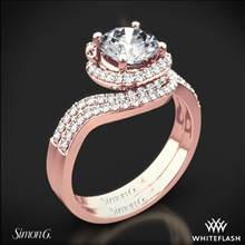 18k Rose Gold Simon G. MR2533 Passion Halo Diamond Wedding Set | Whiteflash