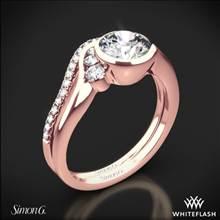 18k Rose Gold Simon G. MR2549 Fabled Bezel Solitaire Wedding Set | Whiteflash