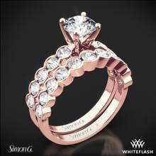 18k Rose Gold Simon G. MR2566 Caviar Diamond Wedding Set | Whiteflash