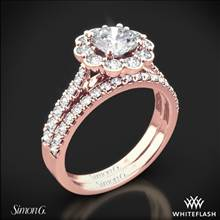 18k Rose Gold Simon G. MR2573 Passion Halo Diamond Wedding Set | Whiteflash