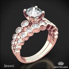 18k Rose Gold Simon G. MR2692 Caviar Diamond Wedding Set | Whiteflash