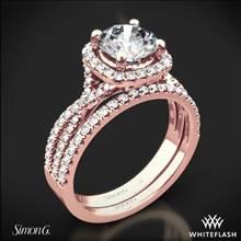 18k Rose Gold Simon G. NR468 Passion Halo Diamond Wedding Set | Whiteflash