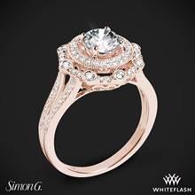 18k Rose Gold Simon G. NR525 Vintage Explorer Halo Diamond Engagement Ring | Whiteflash