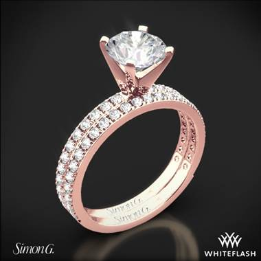 18k Rose Gold Simon G. PR148 Passion Diamond Wedding Set