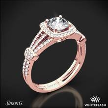 18k Rose Gold Simon G. TR418-D Delicate Halo Diamond Engagement Ring | Whiteflash