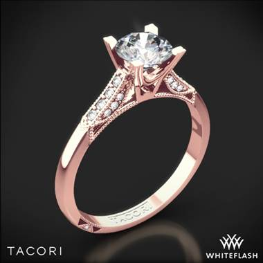 18k Rose Gold Tacori 2586RD Simply Tacori Pave Complete Diamond Engagement Ring with 0.50ct Diamond Center