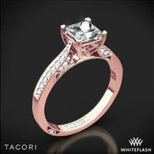 18k Rose Gold Tacori 2638PRP Dantela Crescent Motif Pave for Princess Diamond Engagement Ring | Whiteflash