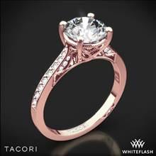 18k Rose Gold Tacori 2638RDP Dantela Crescent Motif Pave Diamond Engagement Ring for 1ct Center | Whiteflash