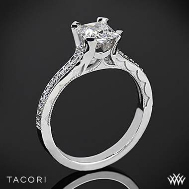 18k Rose Gold Tacori 58-2PR Sculpted Crescent Grace for Princess Diamond Engagement Ring