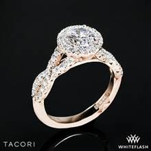 18k Rose Gold Tacori HT2549 Petite Crescent Twisted Diamond Halo Engagement Ring | Whiteflash
