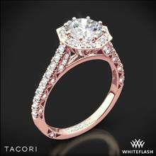 18k Rose Gold Tacori HT2555RD Petite Crescent Halo Diamond Engagement Ring | Whiteflash