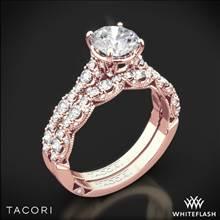 18k Rose Gold Tacori HT2558RD Petite Crescent Diamond Wedding Set | Whiteflash