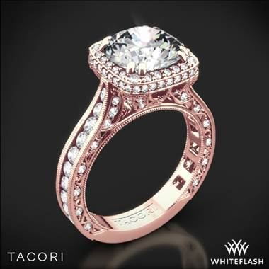 18k Rose Gold Tacori HT2607RD8 RoyalT Cushion-Style Bloom Diamond Engagement Ring for 2ct Center
