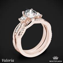 18k Rose Gold Valoria Flora Twist Three Stone Diamond Wedding Set | Whiteflash
