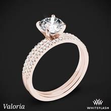 18k Rose Gold Valoria Micropave Diamond Wedding Set | Whiteflash