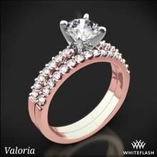 18k Rose Gold Valoria Petite Shared Prong Diamond Wedding Set | Whiteflash