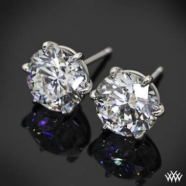 "18k White Gold 6 Prong ""Martini"" Earrings - Settings Only"