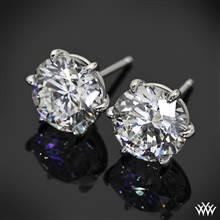 "18k White Gold 6 Prong ""Martini"" Earrings - Settings Only   Whiteflash"
