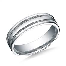 18K White Gold 6mm Comfort-Fit High Polished with Milgrain Round Edge Carved Design Band | B2C Jewels