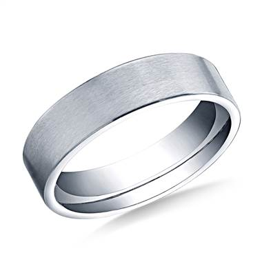 18K White Gold 6mm Comfort-Fit Satin-Finished Carved Design Band