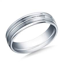 18K White Gold 6mm Comfort-Fit Satin-Finished Center Trim & Round Edge Carved Design Band | B2C Jewels