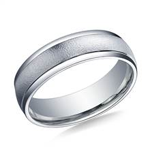 18K White Gold 6mm Comfort-Fit Wired-Finished High Polished Round Edge Carved Design Band | B2C Jewels