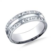 18K White Gold 7.5mm Comfort Fit Hammered Finish Center Cut Design Band | B2C Jewels