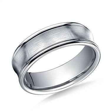 18K White Gold 7.5mm Comfort-Fit Satin-Finished Concave Round Edge Carved Design Band