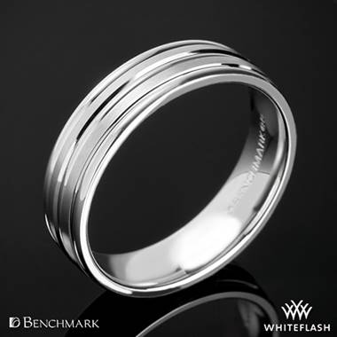 "18k White Gold 8mm Benchmark ""Chorded Satin"" Wedding Ring"