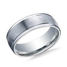 18K White Gold 8mm Comfort-Fit Satin-Finished High Polished Round Edge Carved Design Band | B2C Jewels