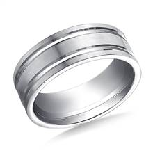 18K White Gold 8mm Comfort-Fit Satin-Finished with Parallel Grooves Carved Design Band   B2C Jewels