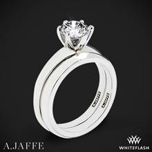18k White Gold A. Jaffe ME1560 Classics Solitaire Wedding Set | Whiteflash