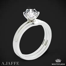 18k White Gold A. Jaffe ME1689 Classics Solitaire Wedding Set | Whiteflash