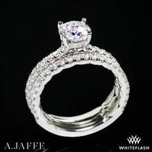 18k White Gold A. Jaffe ME1865Q Classics Diamond Wedding Set | Whiteflash