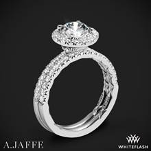 18k White Gold A. Jaffe ME2167Q Classics Halo Diamond Wedding Set | Whiteflash