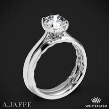 18k White Gold A. Jaffe ME2211Q Solitaire Wedding Set | Whiteflash