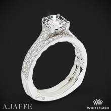 18k White Gold A. Jaffe MES738Q Art Deco Diamond Wedding Set | Whiteflash