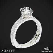 18k White Gold A. Jaffe MES771Q Art Deco Diamond Wedding Set | Whiteflash