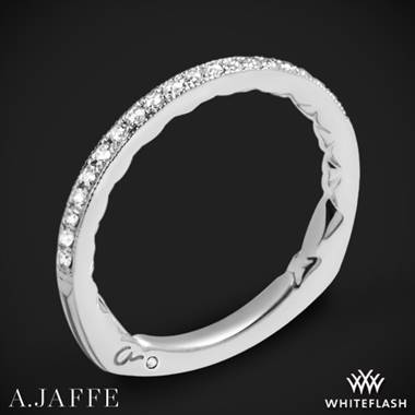 18k White Gold A. Jaffe MRS738Q Art Deco Diamond Wedding Ring