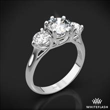 18k White Gold Butterflies 3 Stone Engagement Ring (0.50ctw ACA side stones included) | Whiteflash