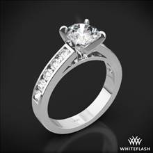 18k White Gold Cathedral Channel-Set Diamond Engagement Ring | Whiteflash