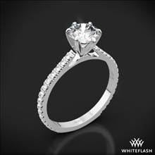 18k White Gold Cathedral French-Set Diamond Engagement Ring | Whiteflash