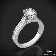 18k White Gold Cathedral Pave Diamond Engagement Ring | Whiteflash