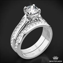 18k White Gold Cathedral Pave Diamond Wedding Set | Whiteflash